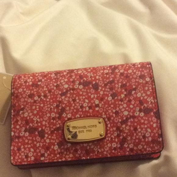eff61de97471 Michael Kors red floral wallet